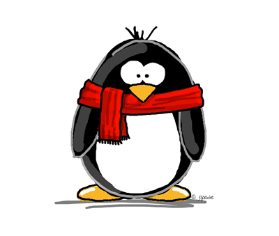 Penguin With Red Scarf Logo