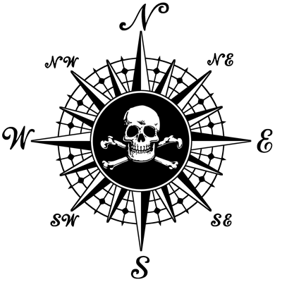 Pirate Skull Compass Rose Sketch Coloring Page
