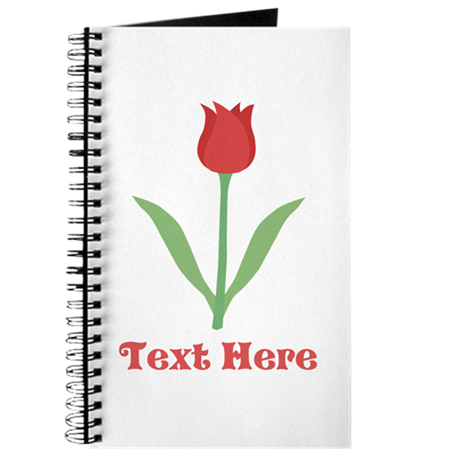 Dark Red Tulip and Text. Journal