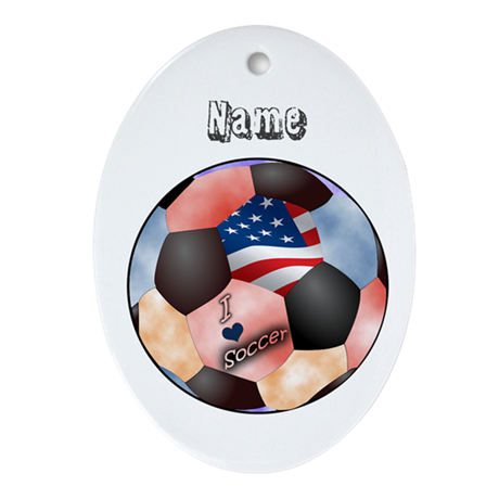 I Love Soccer (personalized) Ornament (Oval)