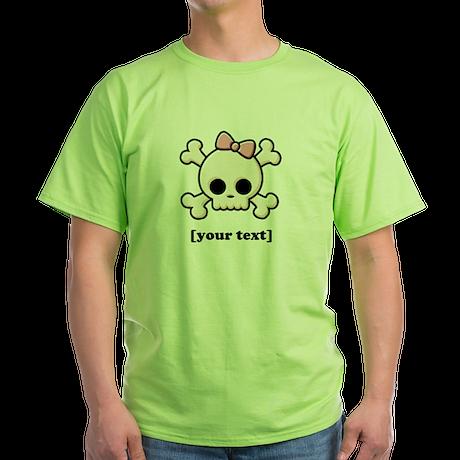 [Your text] Cute Skull Girl Green T-Shirt