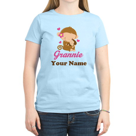 Personalized Grannie Monkeys Women's Light T-Shirt