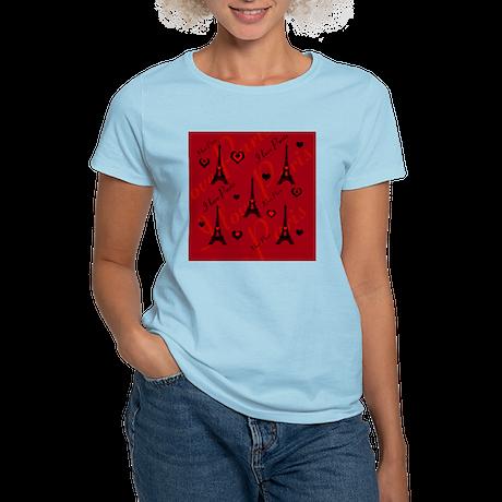 Trendy Black and Red I LOVE PARIS T-Shirt