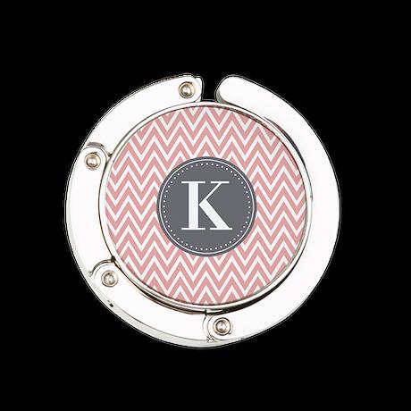 Pale Pink Chevron Pattern Grey Monogram Round Purs