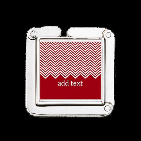 Red White Chevrons Custom Text Square Purse Hanger