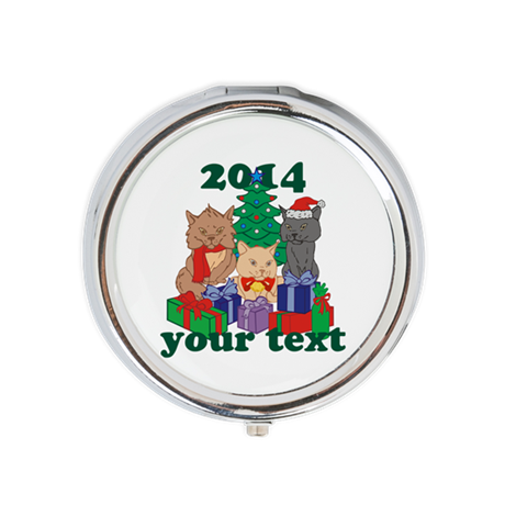 Personalized Christmas Cats Round Pill Box