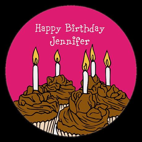 Customized Birthday cupcakes Round Tablecloth