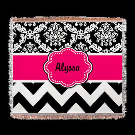 Pink Black Damask Chevron Woven Blanket