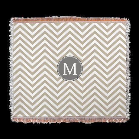 Linen Beige Chevrons Monogram Woven Blanket