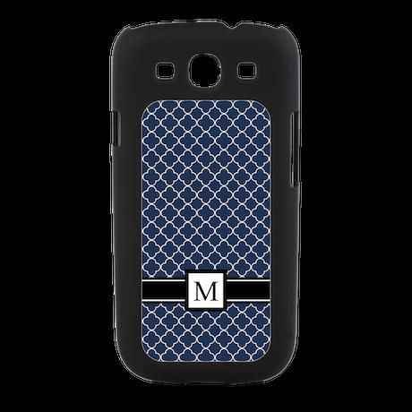 Blue Quatrefoil Monogram Galaxy S3 Switch Case