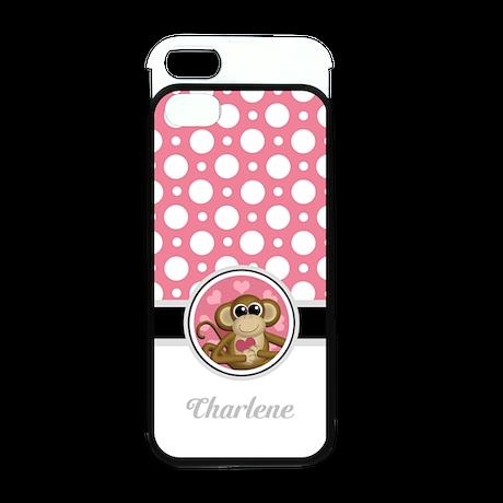 Love Monkey Pink Polka Dots iPhone 5 Wallet Case