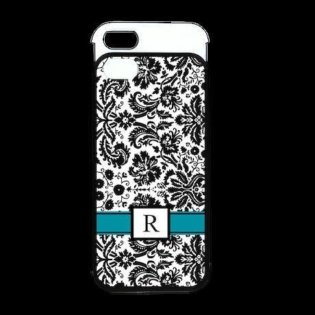 Black Teal Monogram Damask iPhone 5 Wallet Case
