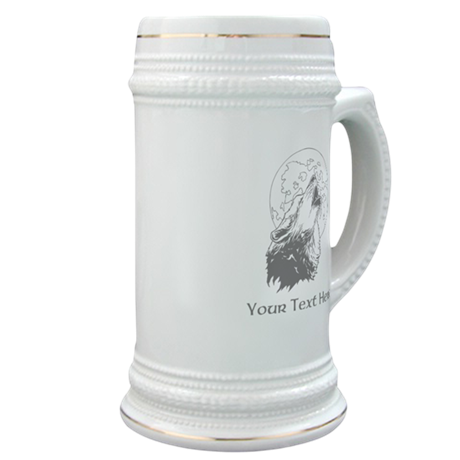 Wolf and Moon. Custom Text. Stein