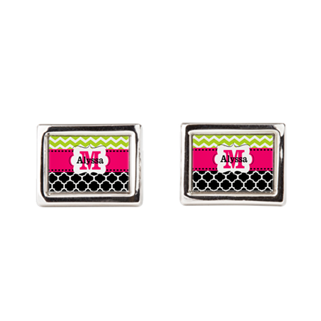Pink Green Black Chevron Personalized Rectangular