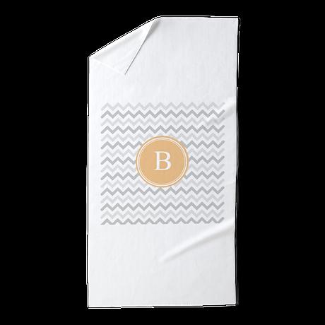 Orange grey chevron monogram beach towel by admin cp49789583 for Orange and grey bathroom accessories