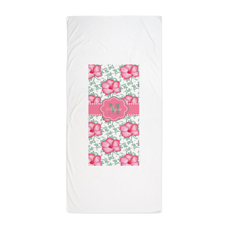 Pink Hibiscus Personalized Beach Towel