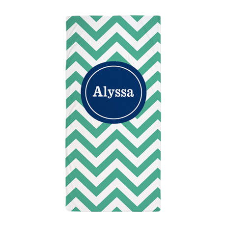 Green Navy Chevron Personalized Beach Towel