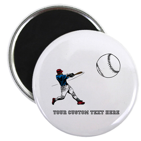 "Baseball Player with Custom Text 2.25"" Magnet (100"