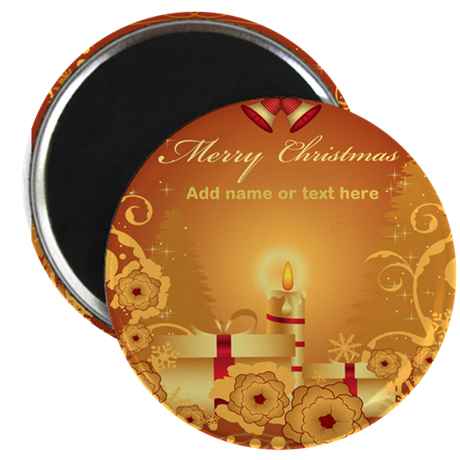 "Luxury gold and red Merry Chr 2.25"" Magnet (100 pa"