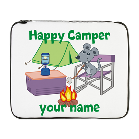 "Custom Happy Camper Mouse 17"" Laptop Sleeve"