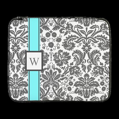 """Aqua Grey Damask Monogram 17"""" Laptop Sleeve"""