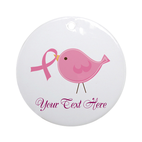 Personalized Pink Cancer Bird Ornament (Round)