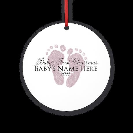 Sweet Footprints - Baby's Fir Ornament (Round)