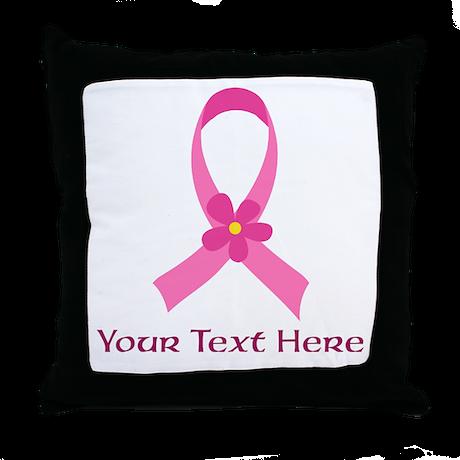 Pink Ribbon Customized Throw Pillow