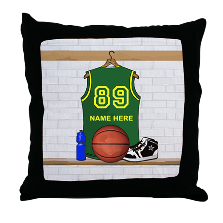 Personalized Basketball Green Throw Pillow