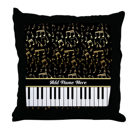 Personalized Gold Musical notes piano Throw Pillow