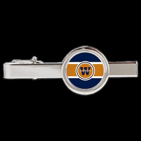 Navy and Orange Custom Monogram Tie Clip