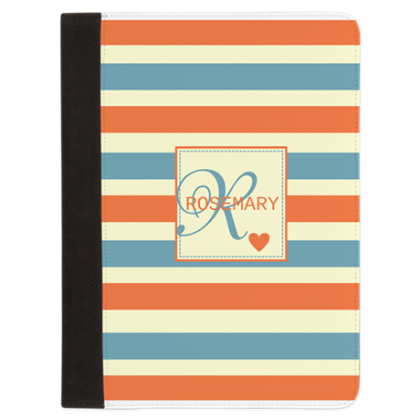 Bold Stripe & Monogram Personalized Padfolio