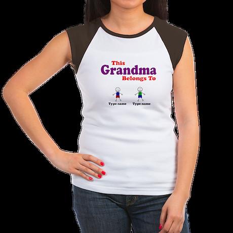 Personalized Grandma 2 boys Women's Cap Sleeve T-S