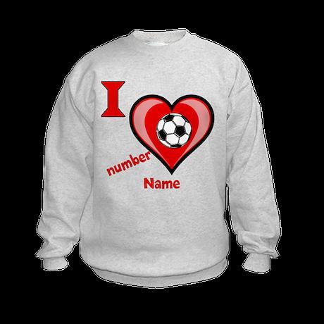 Customizable Soccer Love Kids Sweatshirt