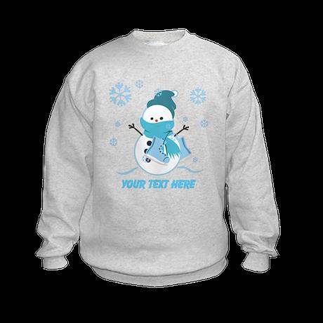 Cute Personalized Snowman Kids Sweatshirt