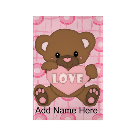 Personalized Cute pink valent Rectangle Magnet