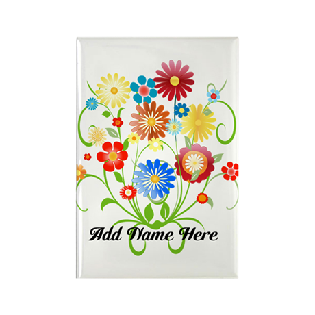 Personalized floral light Rectangle Magnet (10 pac