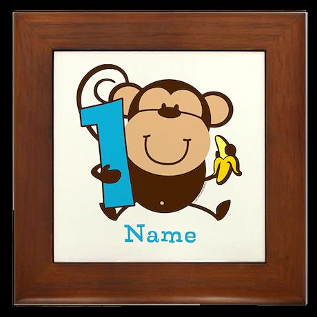 Personalized Monkey Boy 1st Birthday Framed Tile