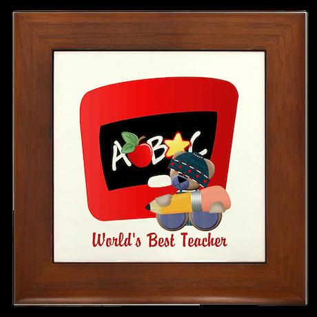 Teacher TeddyBear Framed Tile