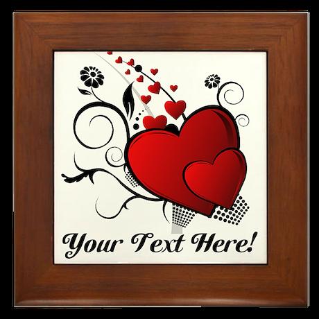 Personalized Red/Black Hearts Framed Tile