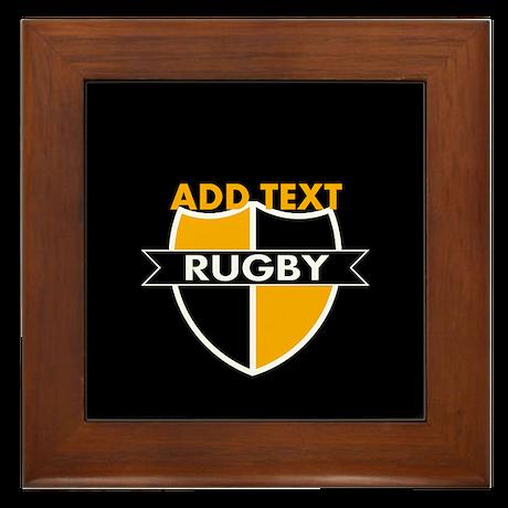 Rugby Crest Black Gold blkpz Framed Tile