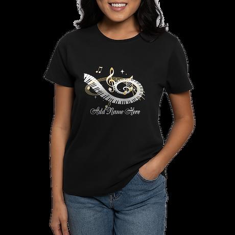 Personalized Piano Musical gi Women's Dark T-Shirt