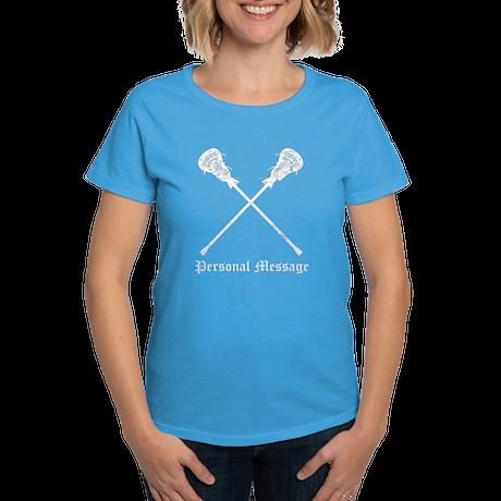 Personalized Lacrosse Sticks Women's Dark T-Shirt