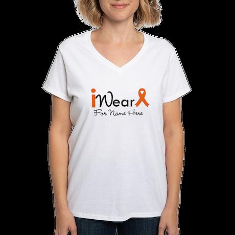 Personalize Leukemia Women's V-Neck T-Shirt