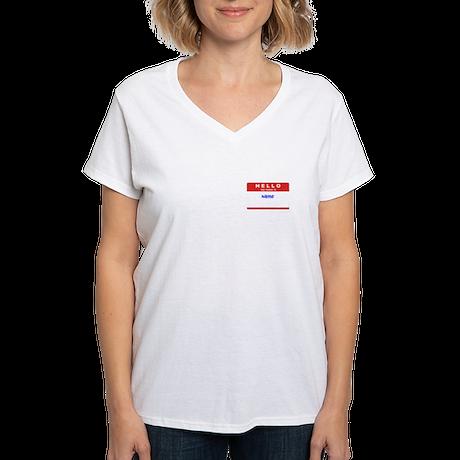 Customizable Nametag Women's V-Neck T-Shirt