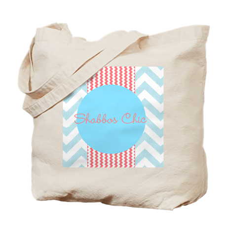 blue and coral chevron Tote Bag