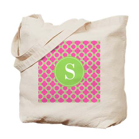 Quatrefoil Pink and Lime Green with Monogram Tote