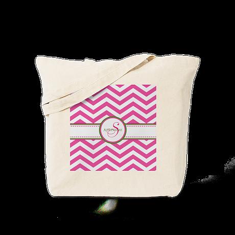 Pink Monogram Chevron Stripe Tote Bag