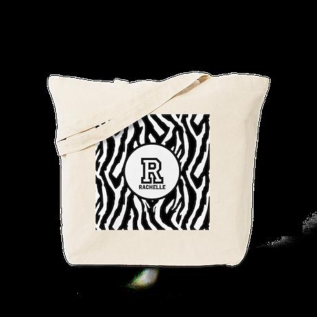 Zebra Print Monogram Tote Bag