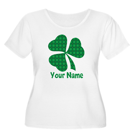 Personalized Irish Shamrock Women's Plus Size Scoo
